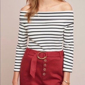{Anthropologie} Rosiers Off Shoulder Striped Top
